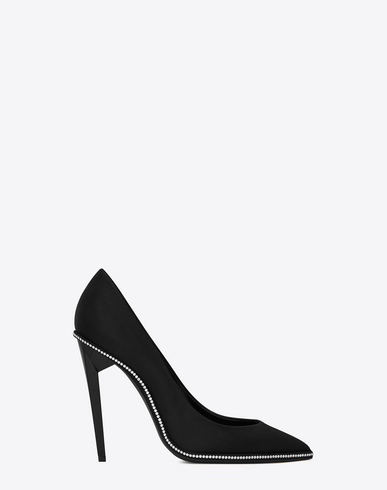TOWER 110 PUMPS IN BLACK SATIN AND WHITE CRYSTALS