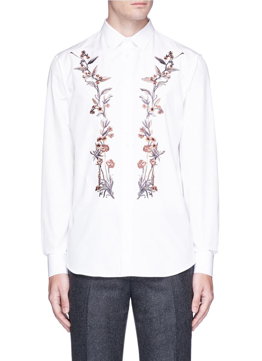 Alexander Mcqueen Cottons Floral embroidered poplin shirt