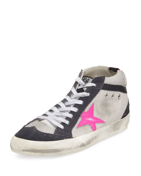 Mid Star Sneakers with Suede and Leather