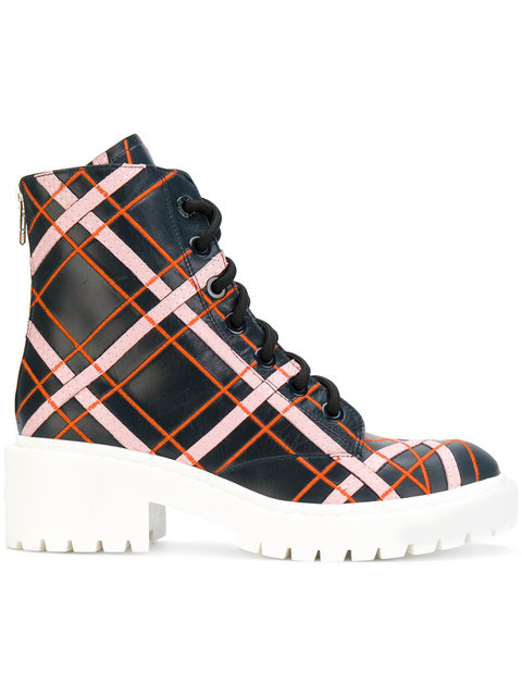 PLAID LEATHER ANKLE BOOTS