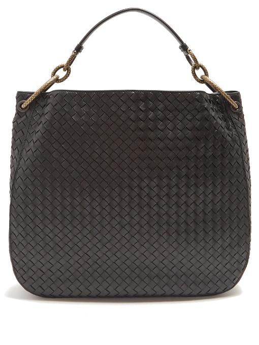 Loop medium intrecciato leather shoulder bag