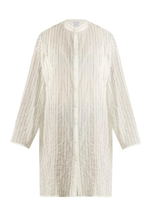 Split-side striped sheer-cotton shirtdress