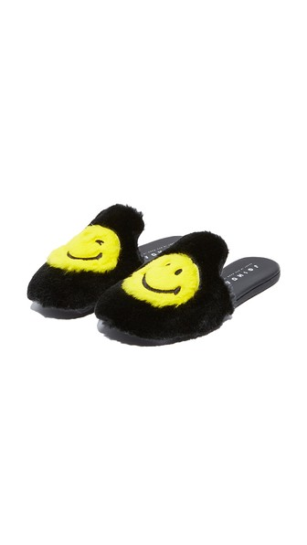 Smiley® embroidered rabbit fur slippers