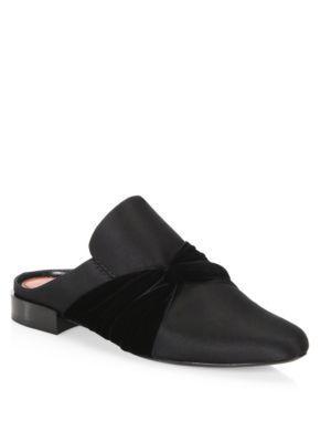 Louie velvet-trimmed satin slippers