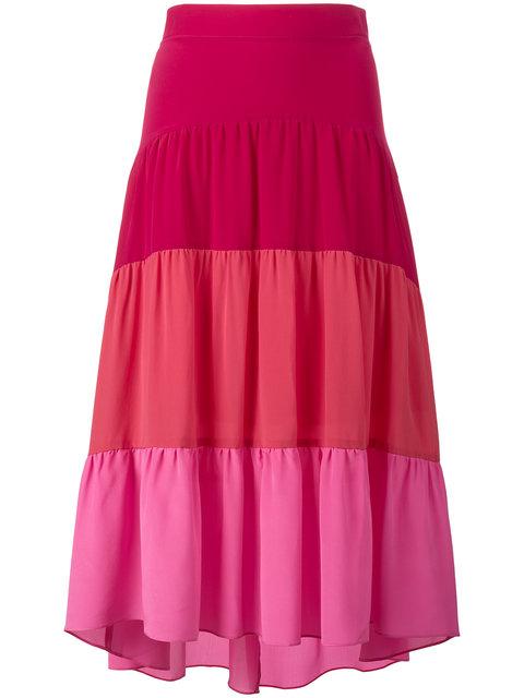 Tiered Silk Crepe De Chine Skirt