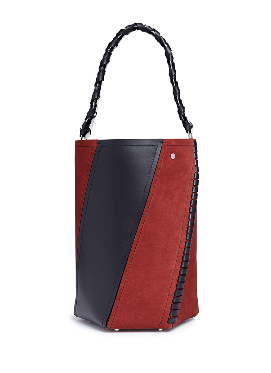 'Hex' medium colourblock leather and suede bucket bag