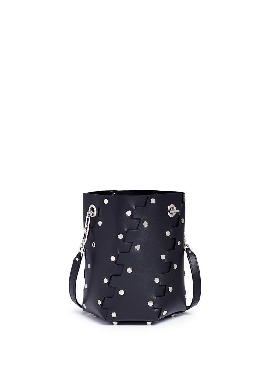 'Hex' stud mini interlocked leather panel bucket bag