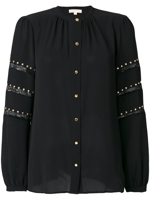 SHIRT WITH LACE AND STUDS INSERT