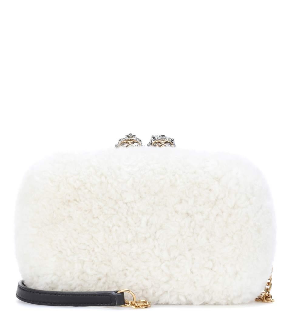 Off-White Mini Shearling Queen & King Box Clutch