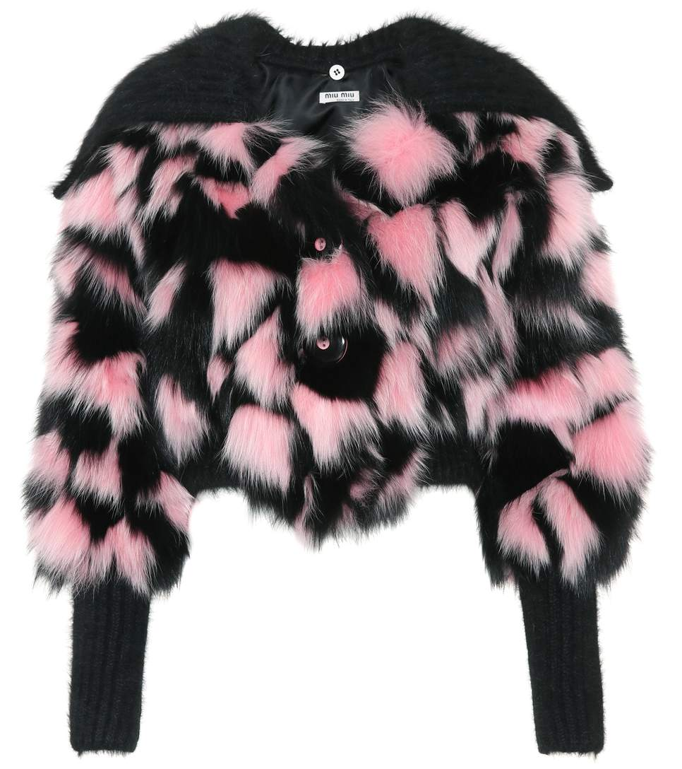 Patchwork Fur and Mohair Cropped Jacket