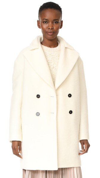 CARVEN Double-Breasted Cocoon Coat in White