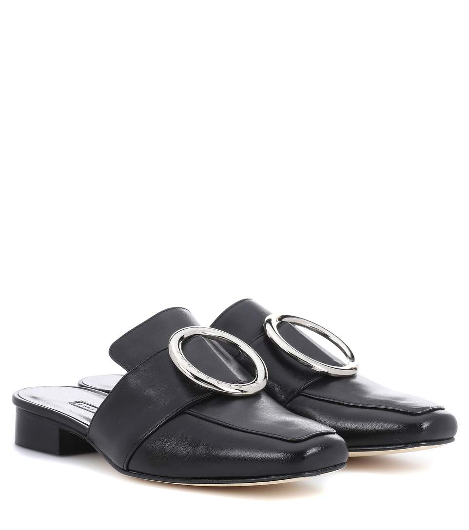 PETROL LEATHER SLIPPERS