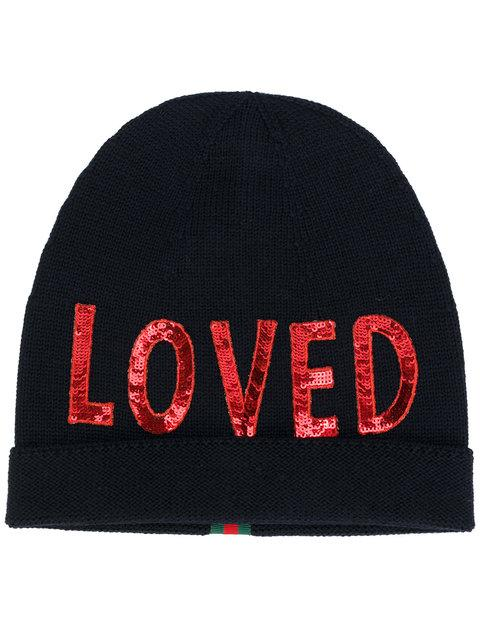 Sequin Embroidered Loved Knit Hat in Navy