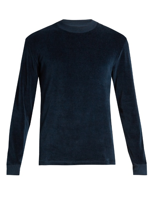 Contrast-rib velour sweatshirt
