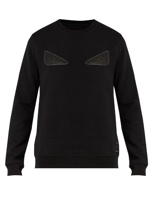 Fendi Cottons Bag Bugs-appliqué jersey sweatshirt