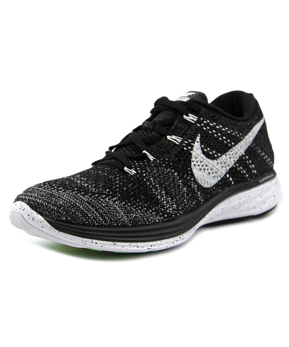 Nike Canvases NIKE FLYKNIT LUNAR 3 MEN  ROUND TOE CANVAS BLACK RUNNING SHOE