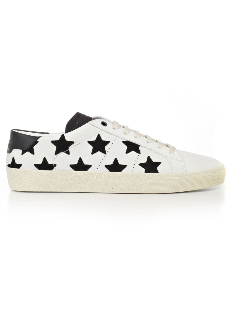 SAINT LAURENT Court Classic Low-Top Sneaker in Milk/New Grey
