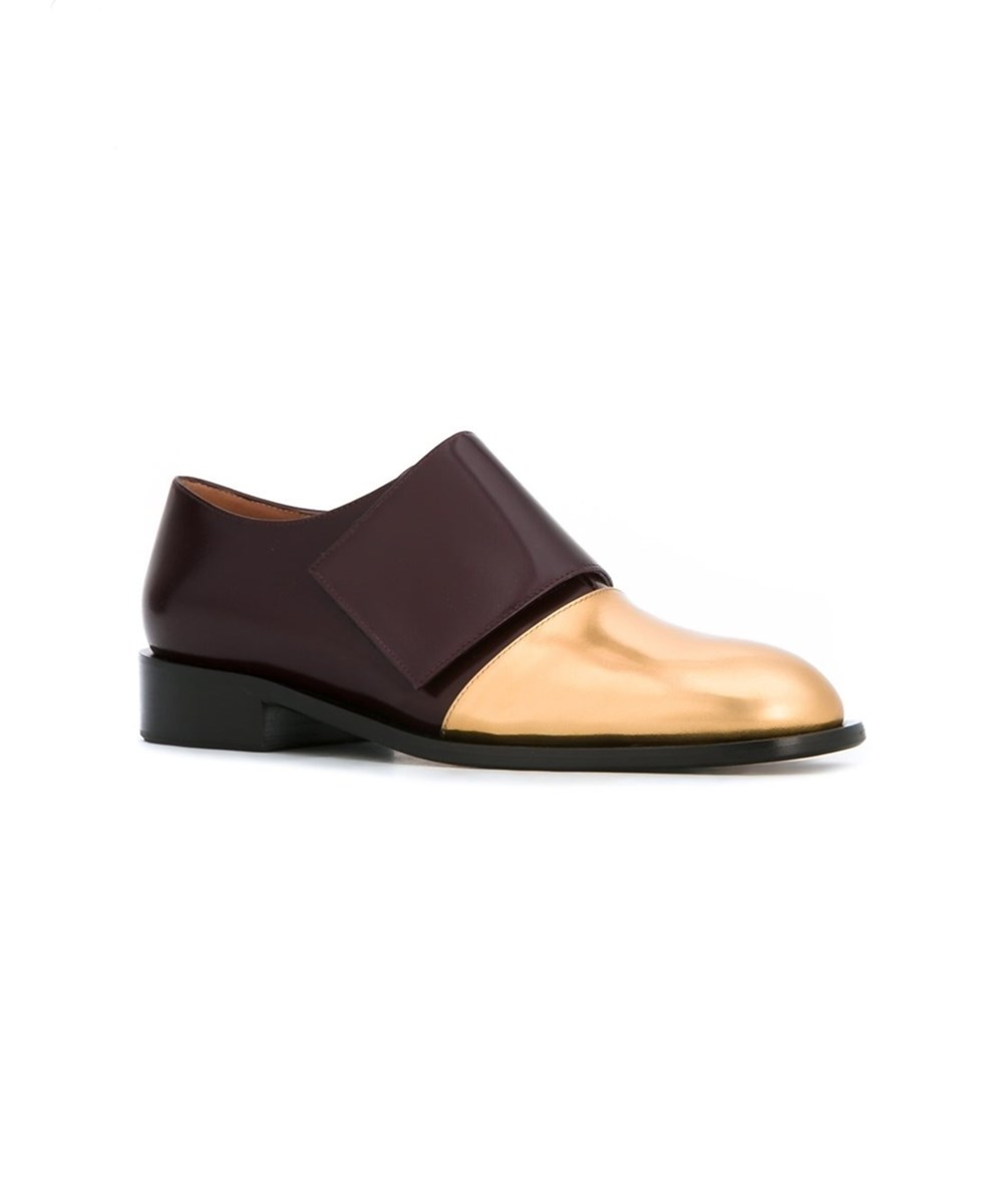 MARNI WOMEN'S  BURGUNDY/GOLD LEATHER MONK STRAP SHOES