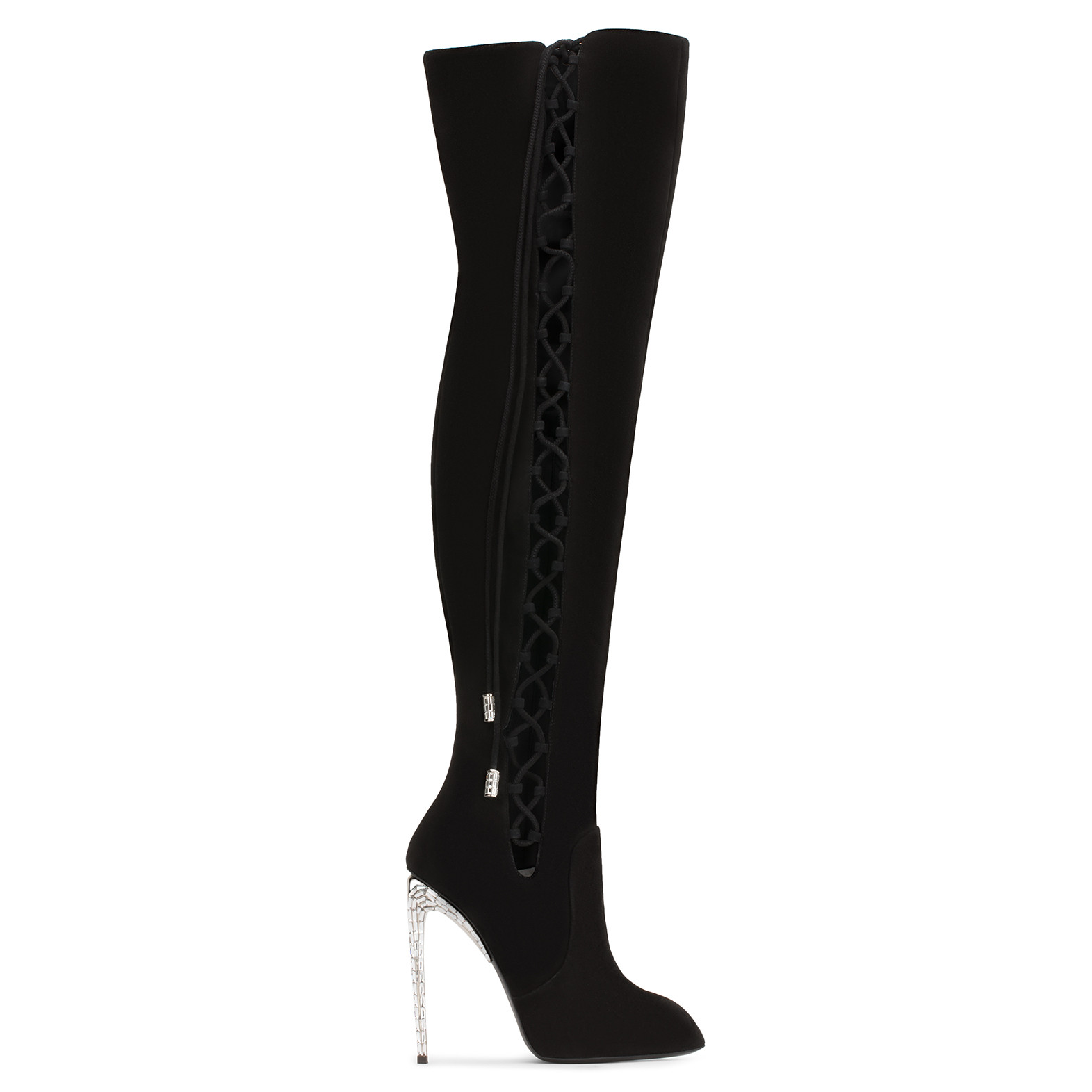 GIUSEPPE ZANOTTI - GIUSEPPE FOR JENNIFER LOPEZ: BLACK SUEDE CUISSARD BOOT WITH CRYSTALS MARISA