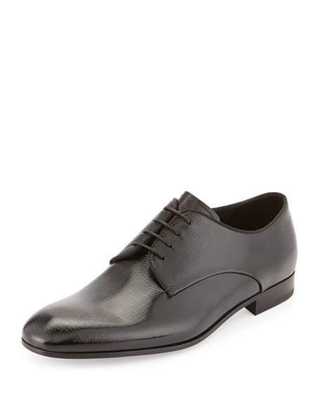 GIORGIO ARMANI Textured Patent Leather Oxford, Black