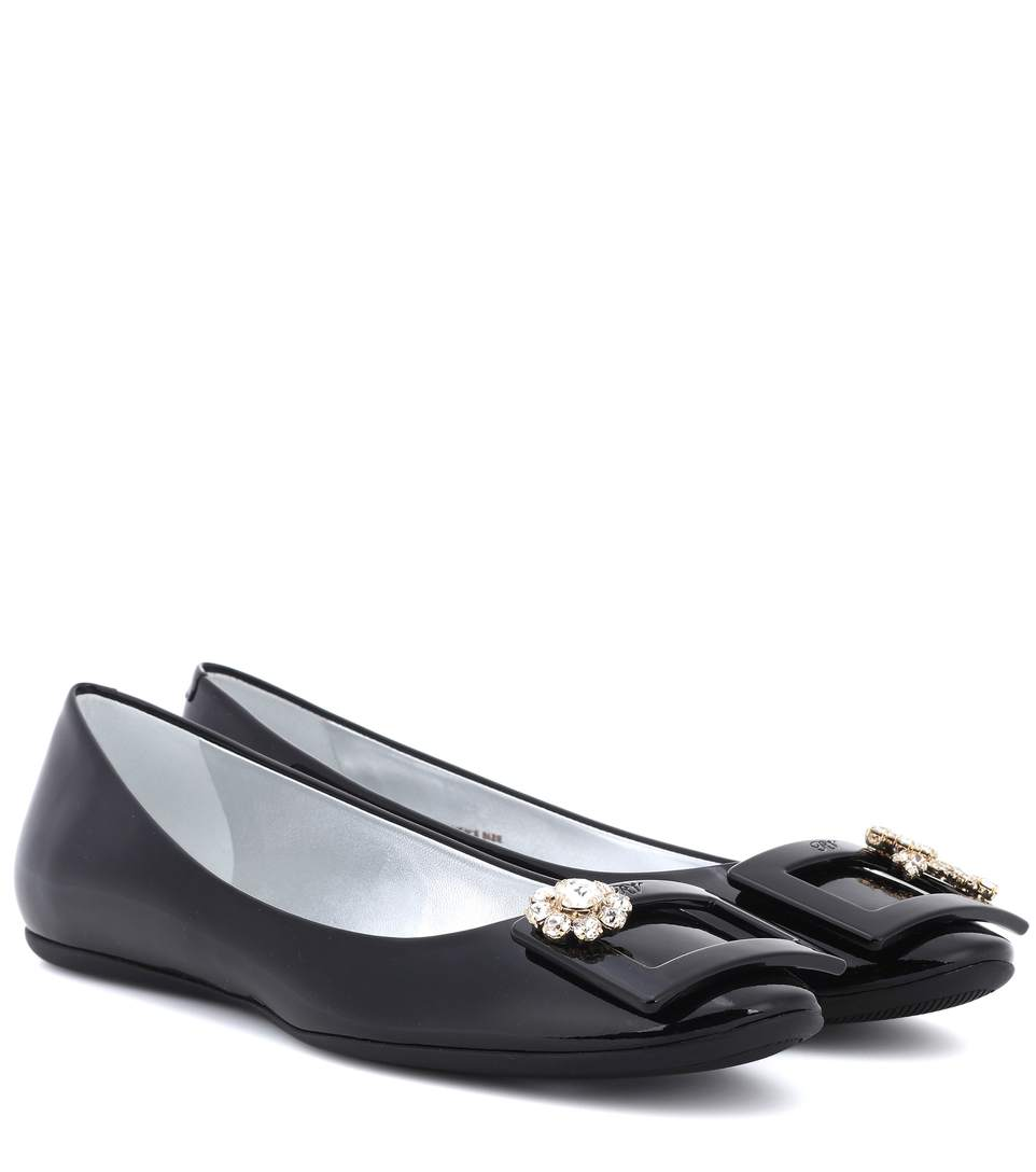 ROGER VIVIER Gommette Jewels Buckle Ballerinas In Patent Leather