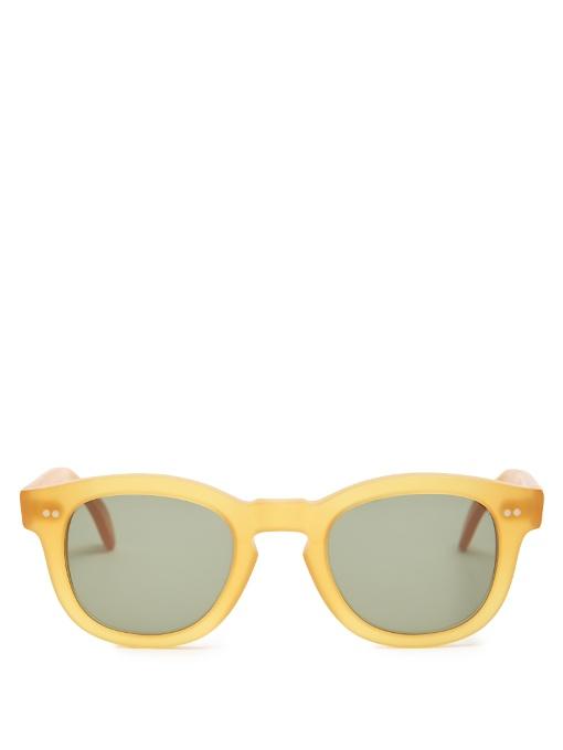 ILLESTEVA Murdoch Round-Frame Sunglasses in Colour: Matte Mustard-Yellow