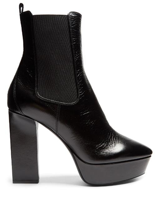 SAINT LAURENT Vika Leather Platform Ankle Boots in Black