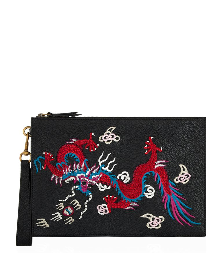 GUCCI Reve D'Orient Leather Pouch in Black