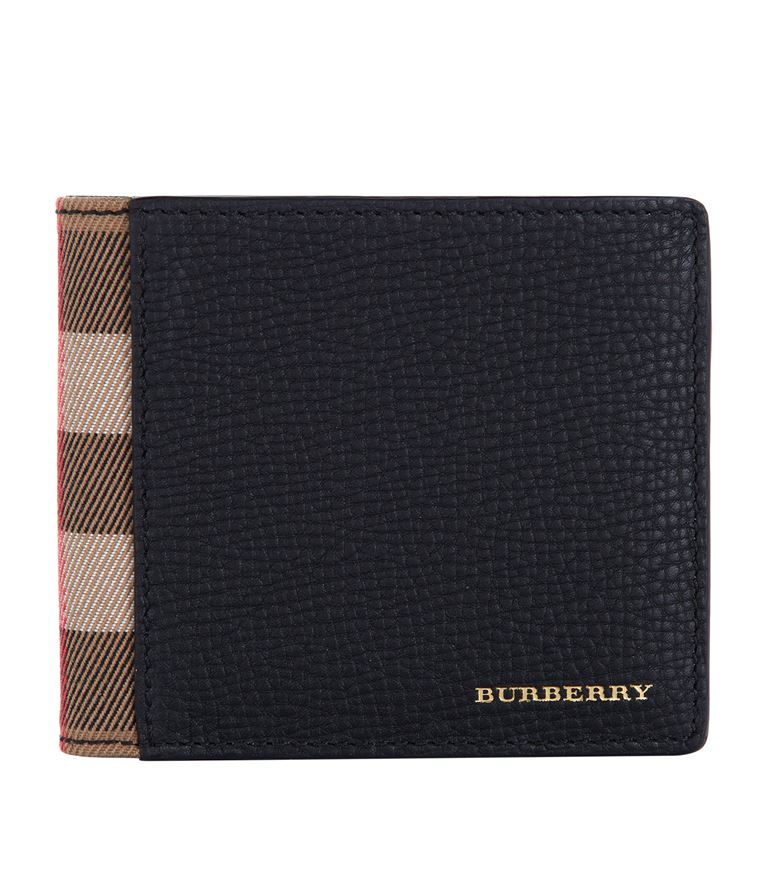 BURBERRY House Check Bi-Fold Leather Wallet in Black