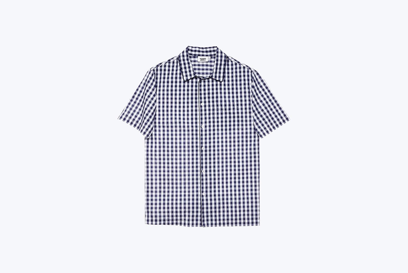 SLEEPY JONES Henry Short Sleeve Pajama Shirt in Large Gingham Navy