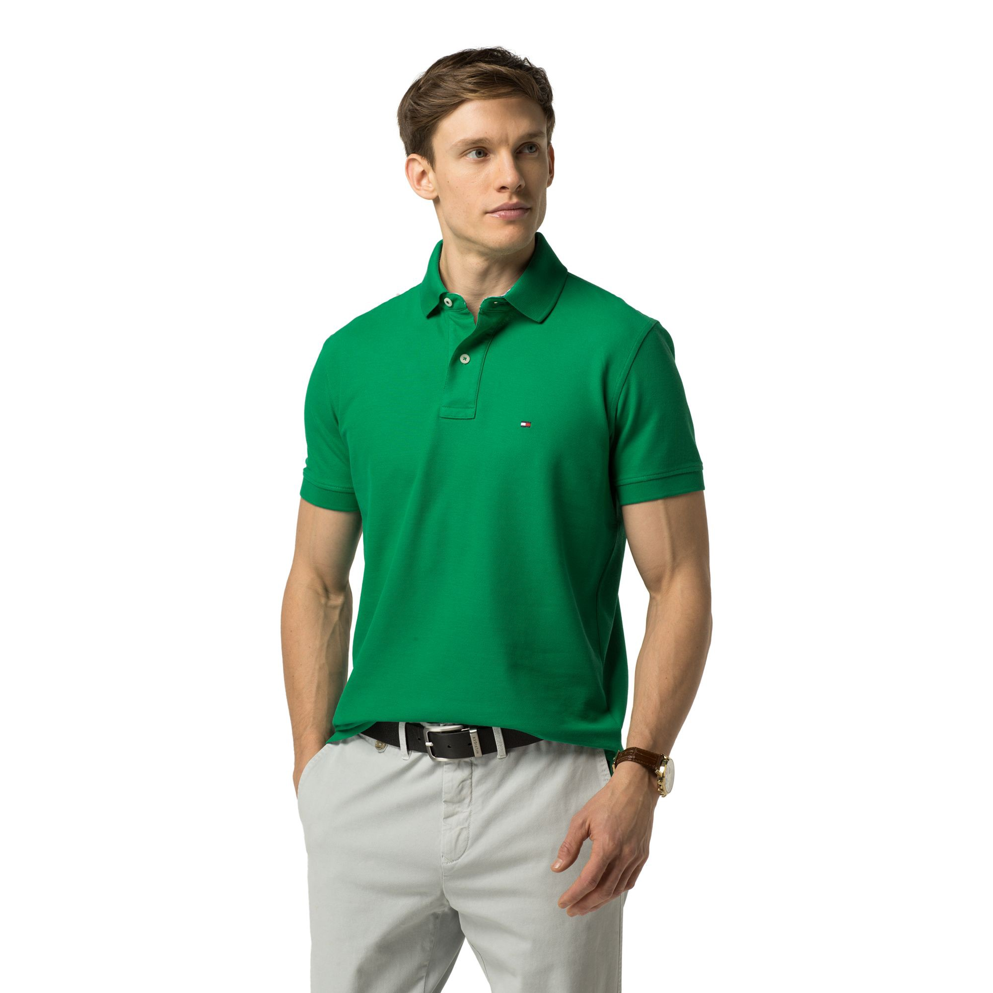 TOMMY HILFIGER Regular Fit Premium Pique Polo - Golf Green