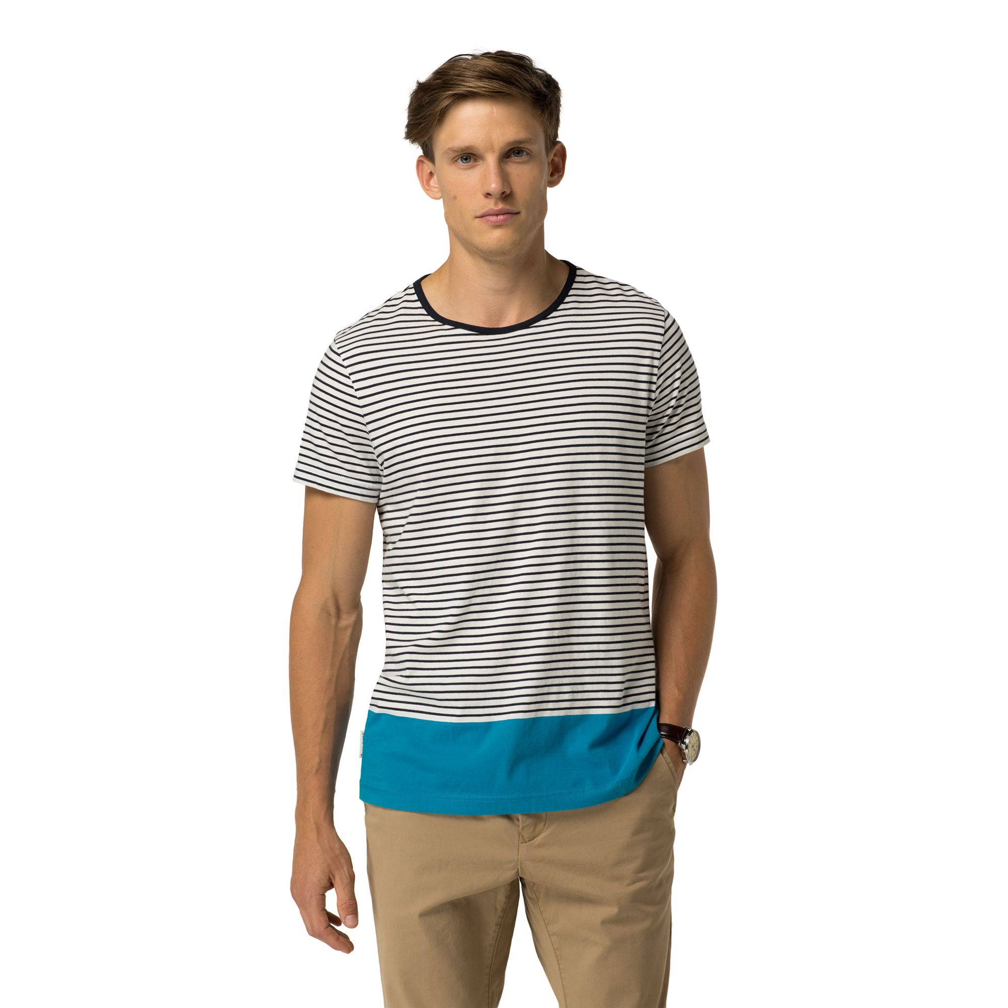 TOMMY HILFIGER Final Sale-Colorblock And Stripes Tee - Snow White / Midnight
