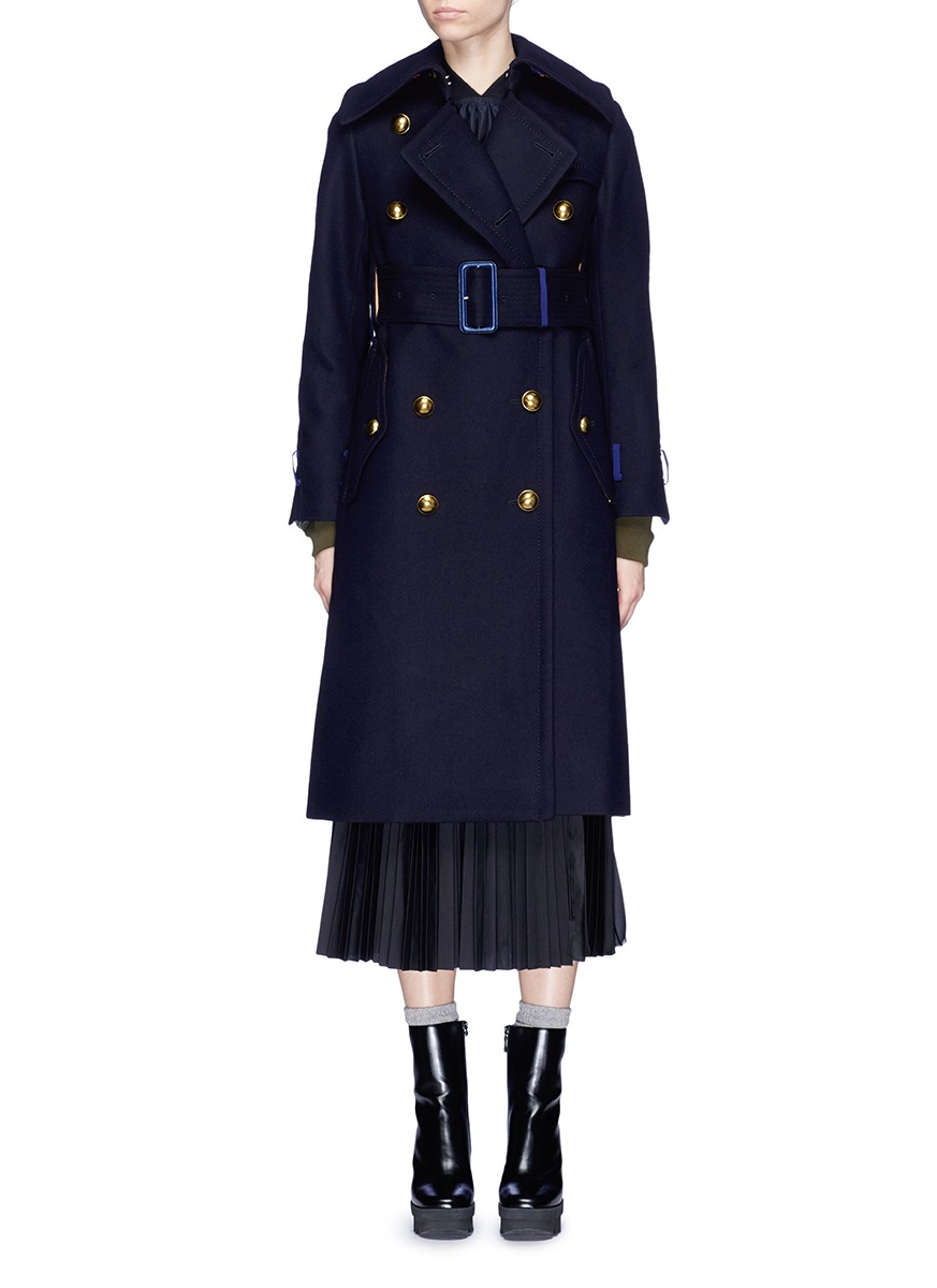 Contrast cuff wool melton military coat