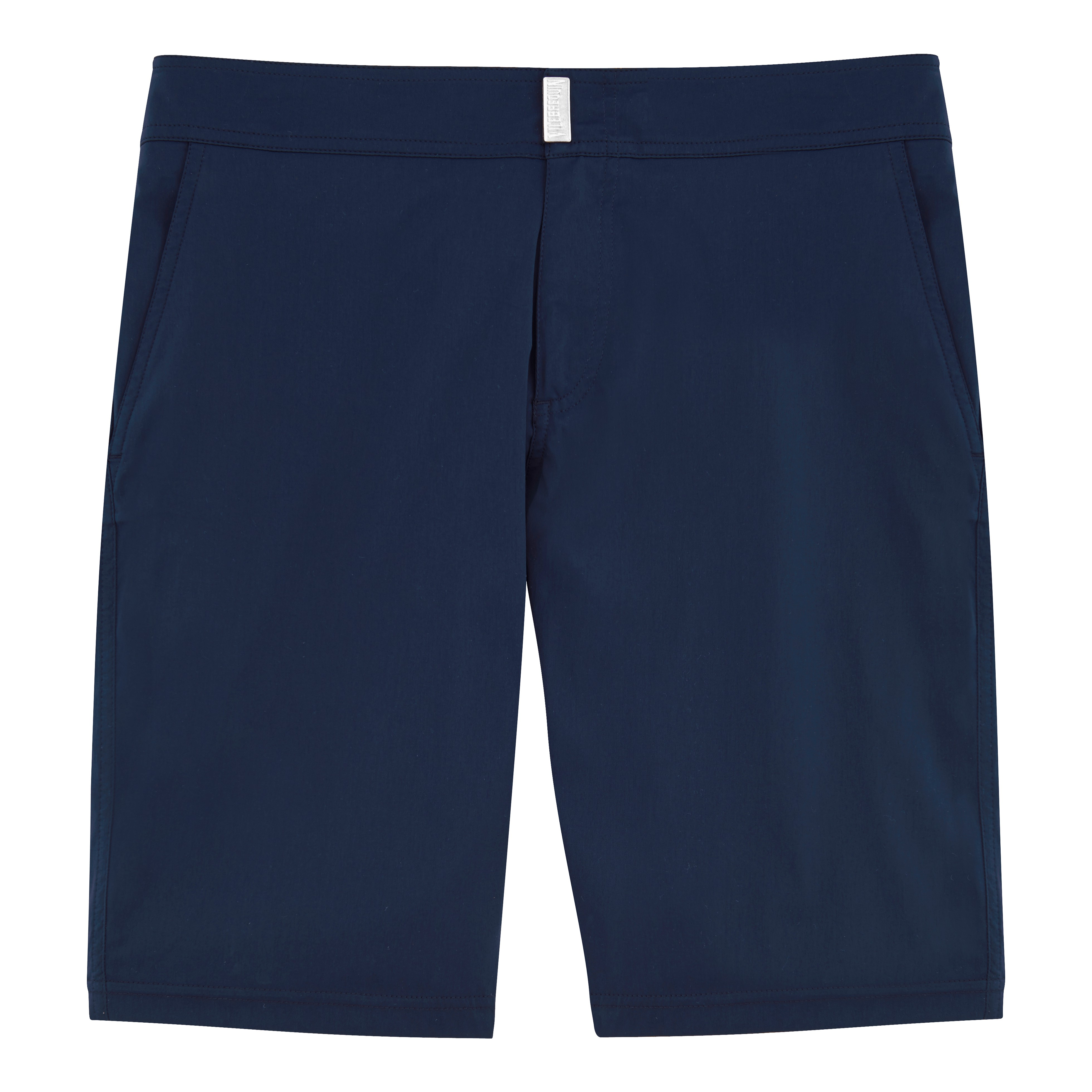VILEBREQUIN Solid Superflex Long Fitted Cut Swim Shorts, Meia - Navy