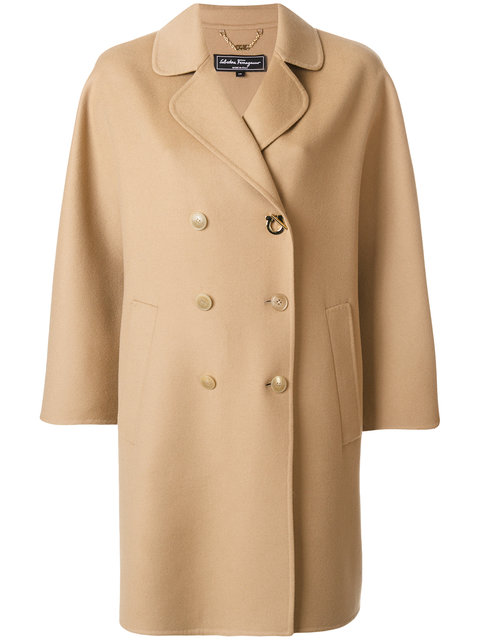 SALVATORE FERRAGAMO Double Breasted Wool & Cashmere Coat in Brown