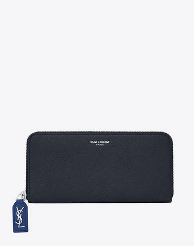 SAINT LAURENT Large Rive Gauche Zipped Wallet In Dark And Royal Blue Grained Leather