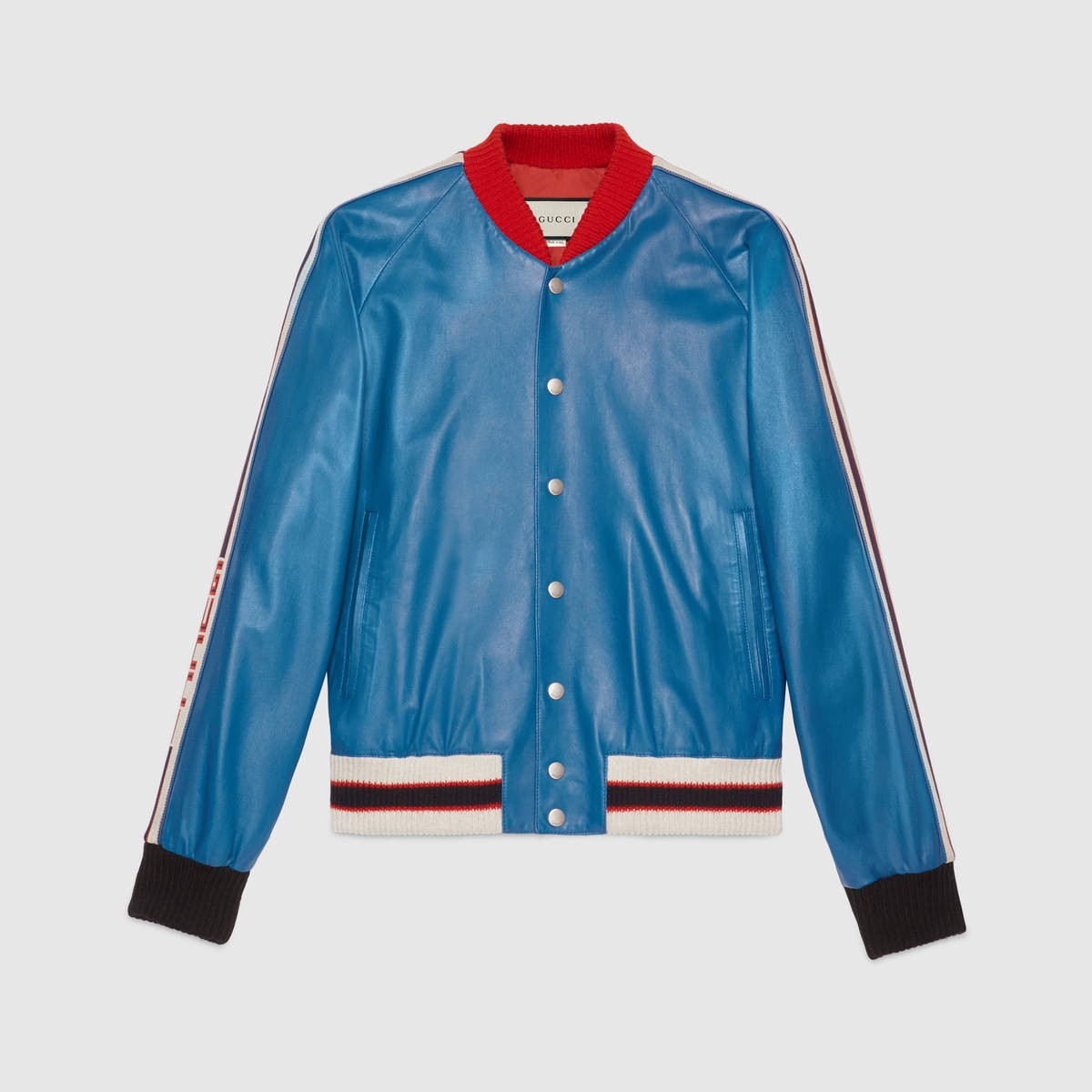 GUCCI Leather Bomber Jacket With Appliqués - Blue Leather in Blue Leather