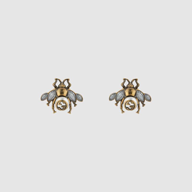 Gucci Crystal-bee earrings ae6KlCqxV