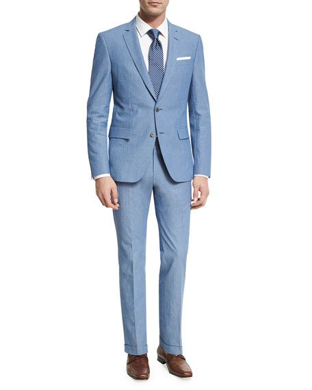 Hugo Boss  TEXTURED TWO-PIECE SUIT, BLUE