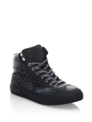 Jimmy Choo  Round Toe High-Top Sneakers