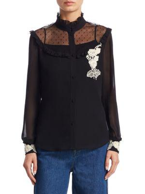 Red Valentino  Dot Lace Macrame Blouse