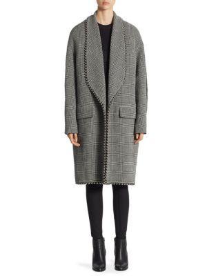 Alexander Wang  Studded Glen Plaid Shawl-Collar Coat