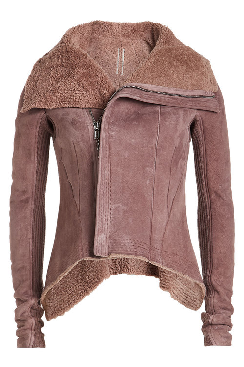 Rick Owens  Suede and Shearling Asymmetric Jacket