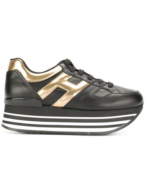 HOGAN 70Mm Maxi 222 Leather Sneakers, Black/Gold