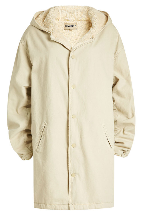 Yeezy  Hooded Cotton Jacket with Faux Shearling Lining