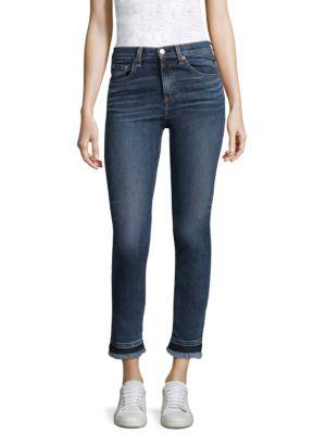 Rag & Bone  Hana Croyden High-Rise Cropped Frayed Hem Jeans