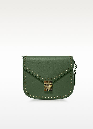 Mcm  LODEN GREEN PATRICIA STUDDED OUTLINE PARK AVENUE SMALL SHOULDER BAG