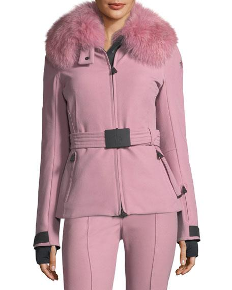 Moncler  ECRINS LONG-SLEEVE FUR-COLLAR JACKET, LIGHT PINK
