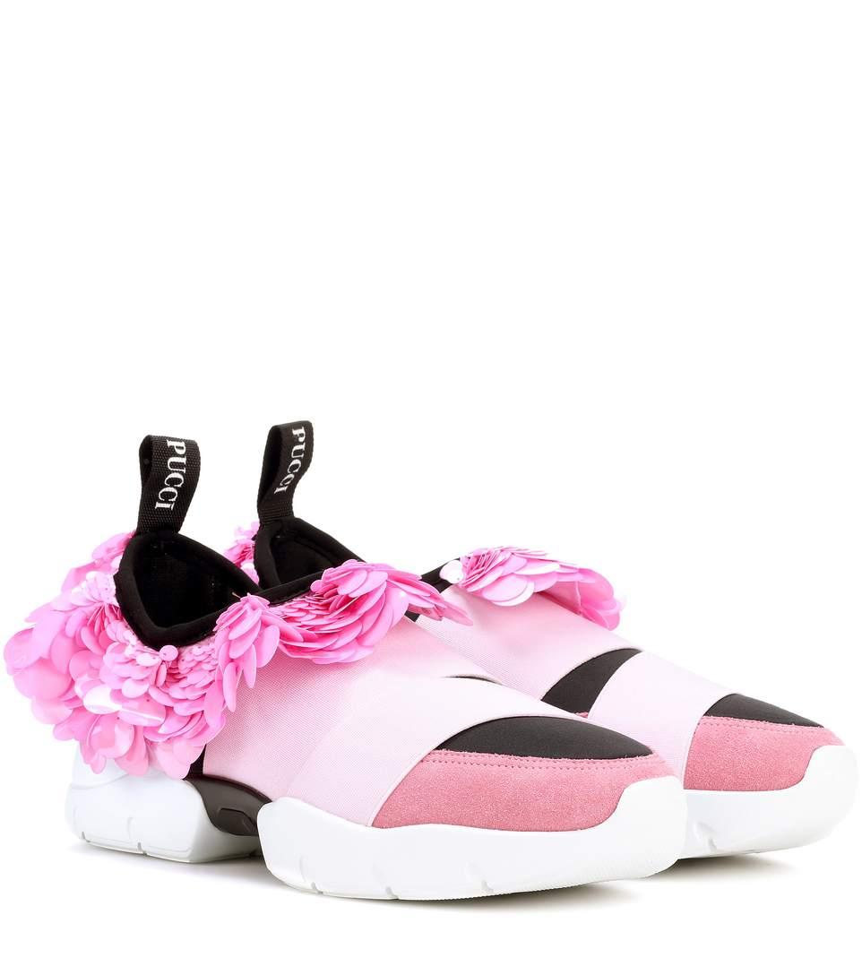 Emilio Pucci  Scuba and suede sneakers