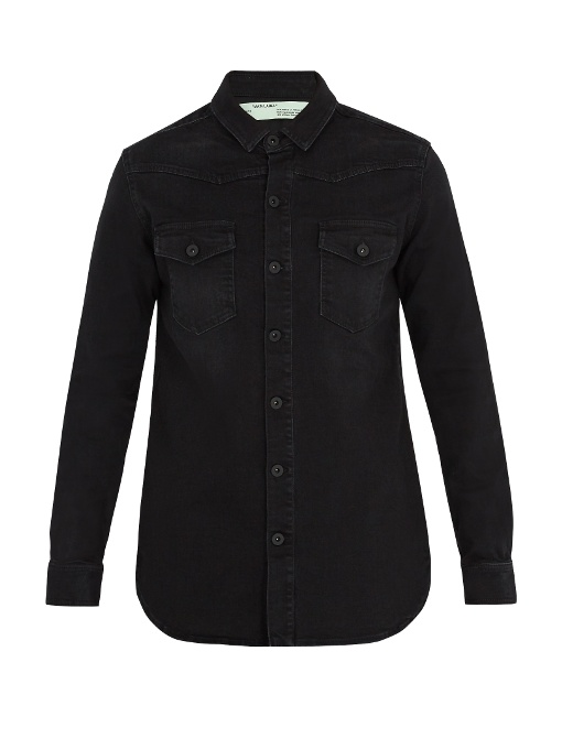 Off-White  Checkered-motif denim shirt